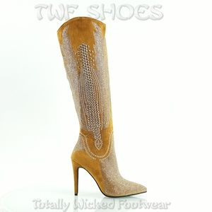 Tan Western Knee High Sexy Boots Studs & Stones